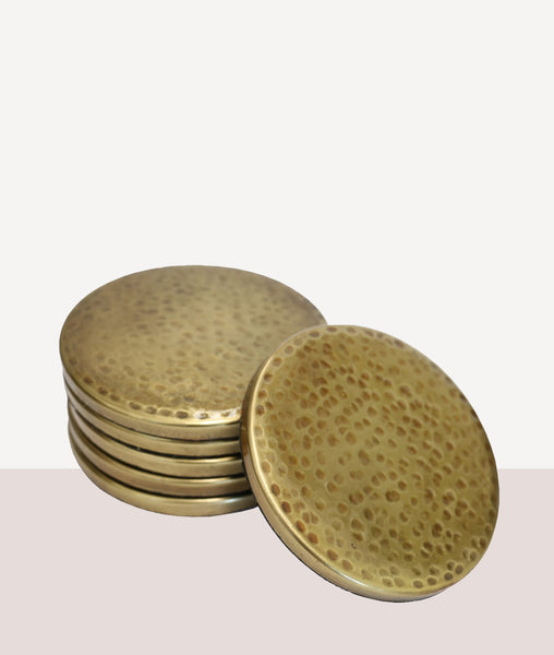 Hammered Brass Coaster / Set4