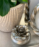 Camelia Round Trinket Box / Pewter
