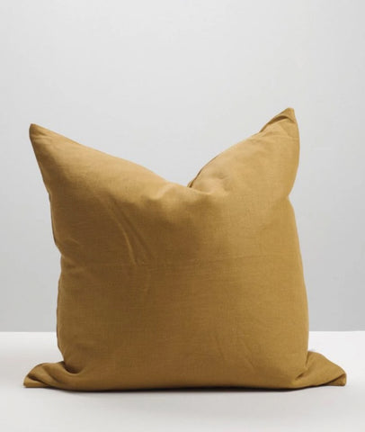 Cinnamon Linen Cushion w/Feather Inner / Thread Design