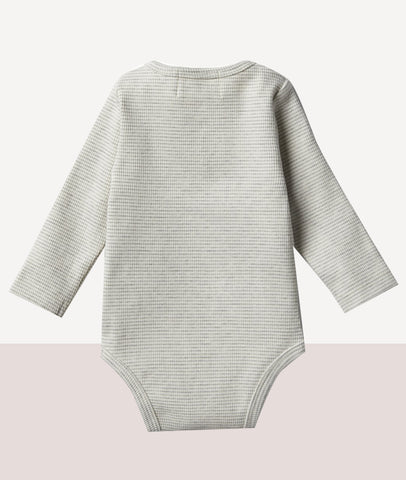Rib Long Sleeve Bodysuit / Cloud Grey / Wilson & Frenchy