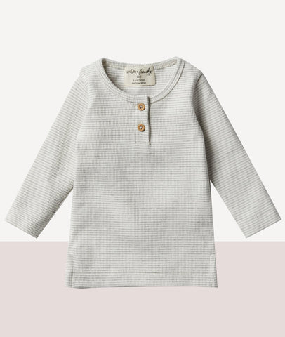 Organic Rib Long Sleeve Top / Cloud Grey / Wilson & Frenchy