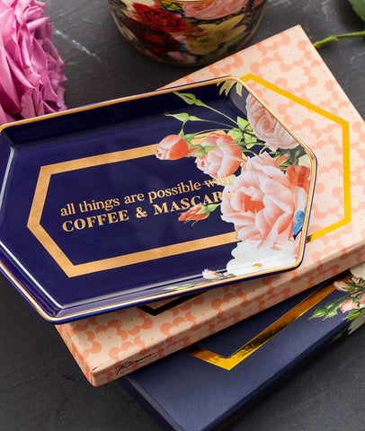 Coffee & Mascara Tray / Navy Floral & Gold