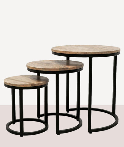 Douglas Nesting Side Tables / Wood & Steel