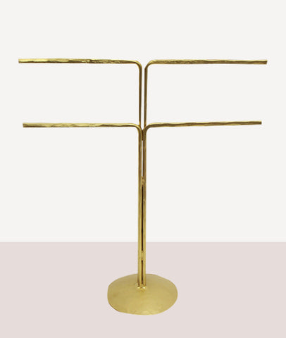 Evie 2 Arm Jewellery Stand / Handforged Iron / Brass