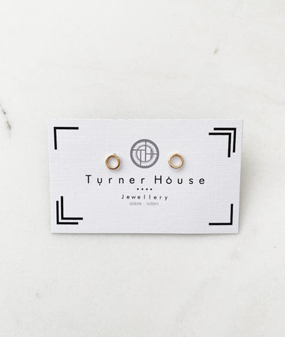 Dainty Hollow Circle Earrings / Gold / Turner House