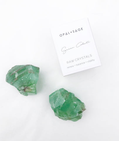 Green Calcite / Opal & Sage