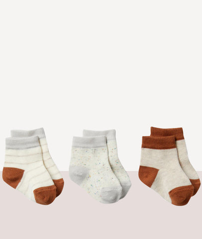 Cloud Grey Melange, Oatmeal, Toasted Pecan - 3 Pack Baby Socks