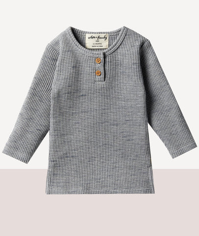 Waffle Henley Top / Cloud Grey / Wilson & Frenchy