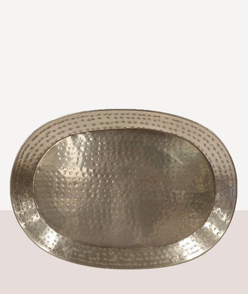 Preston Hammered Oval Tray / Antique Silver