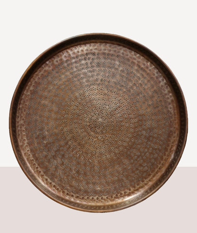 Bethan Round Beaten Tray / Antique Brass