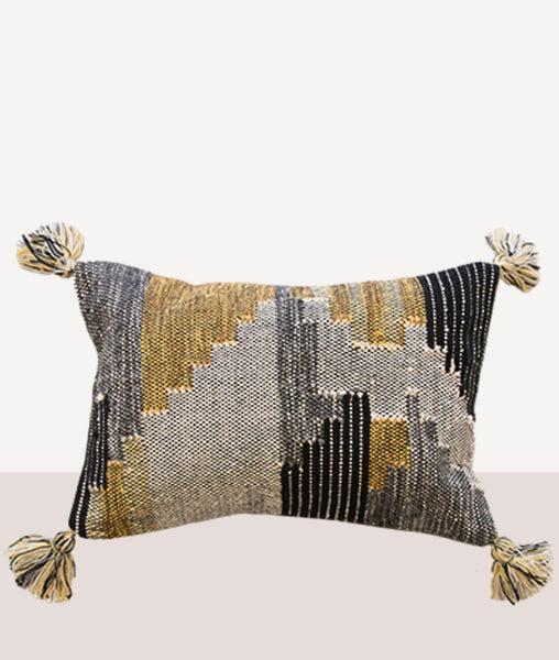 Keita Cushion w/Feather Inner / Ochre/Grey