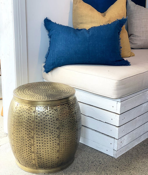 Kuta Hammered Drum Side Table / Brass
