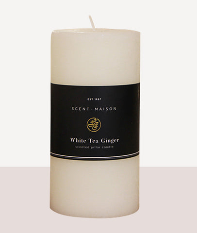 "Maison Pillar Candle 3x6"" / White Tea Ginger"