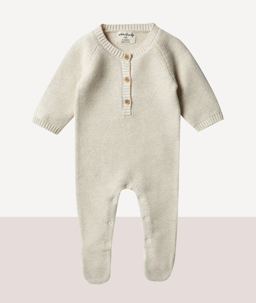 Oatmeal Footed Knitted Growsuit / Wilson & Frenchy