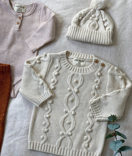 Knitted Jumper w/Baubles / Oatmeal / Wilson & Frenchy