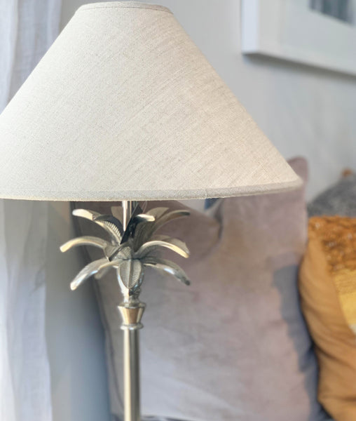 Palm Lamp Silver w/Linen Cone Lampshade