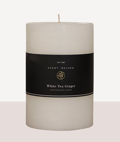 "Maison Pillar Candle  4x6"" / White Tea Ginger"