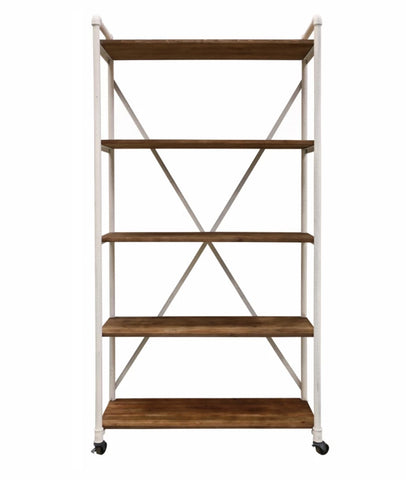 Industrial Shelving Unit In Steel & Recycled Pine Snow / Small
