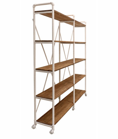 Industrial Shelving Unit in Steel & Recycled Pine Snow