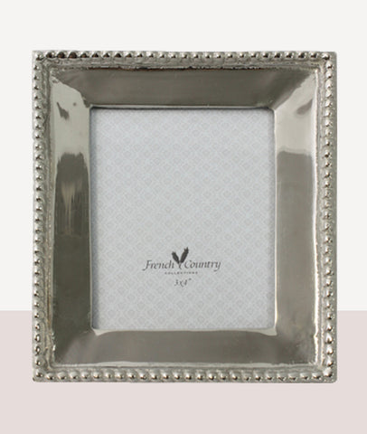 Beaded Rectangle Nickel Photo Frame / 3x4""