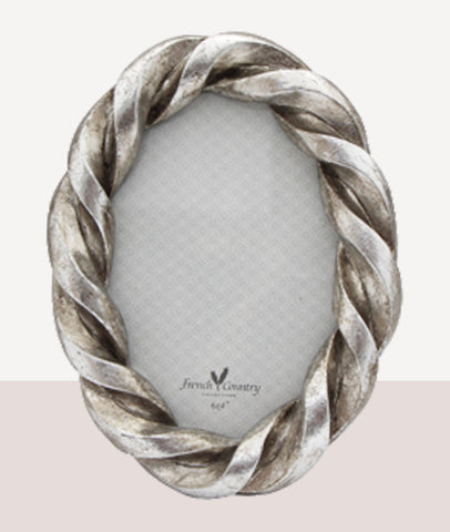 Rope Oval Photo Frame / Antique Silver