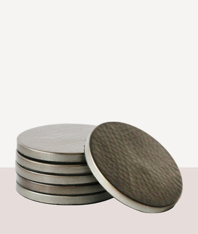 Hammered Satin Grey Coaster / Set4