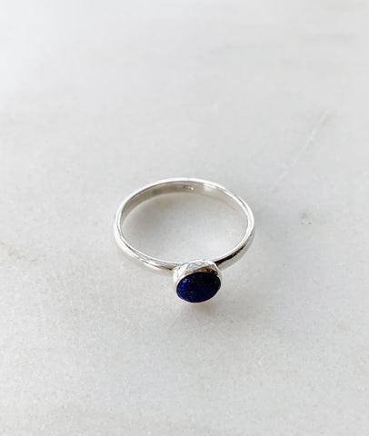 Silver Round Lapis Ring / Turner House