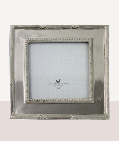 Beaded Square Nickel Photo Frame / 4x4""