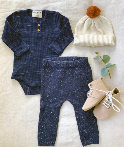 Waffle Long Sleeve Bodysuit / Twilight Blue / Wilson & Frenchy