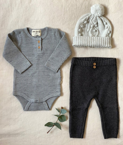 Waffle Long Sleeve Bodysuit / Cloud Grey / Wilson & Frenchy