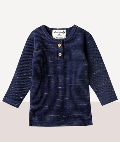 Waffle Henley Top / Twilight Blue / Wilson & Frenchy