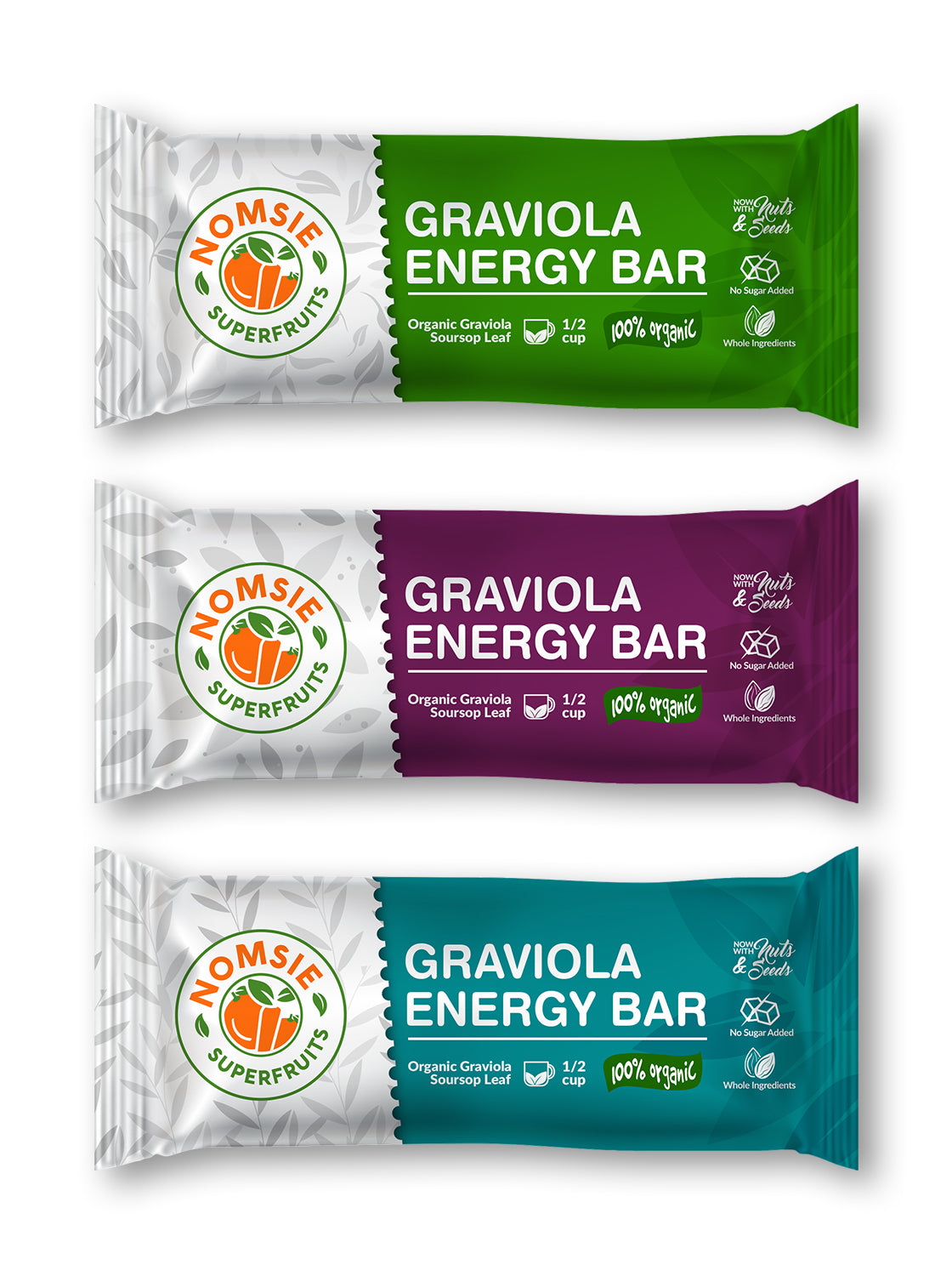 Graviola Energy Bars - Nomsie Superfruits - Case of 12 Bars - Variety Pack