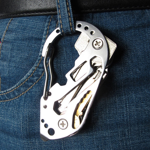 EDC Multifunction Carabiner Style Stainless Steel Keychain