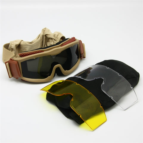 Men's Ballistic Military Anti-Fog Triple Lens Alpha Goggles