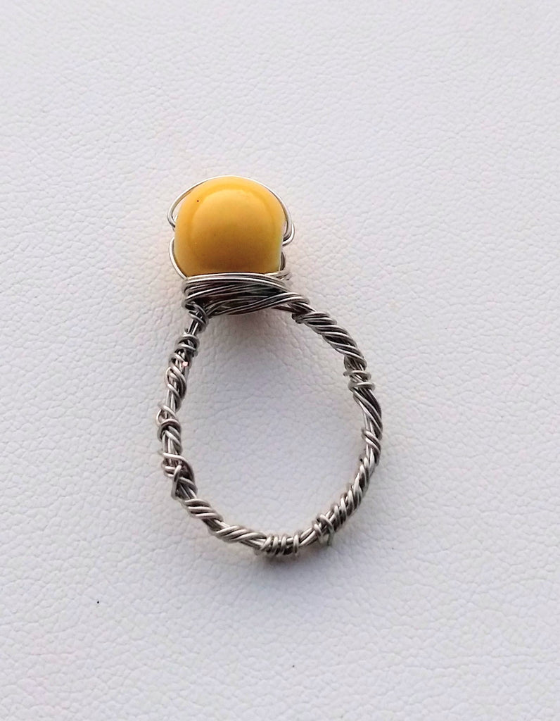 Sun Kissed(Yellow Bead) Silver Wire Wrapped Ring
