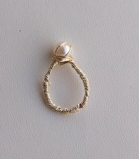 Silver Pearl Wire Wrapped Ring