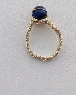 Blue Tigers Eye Silver Wire Wrapped Ring