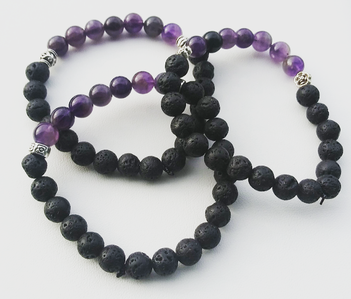 HANDCRAFTED Amethyst Lava Stone Beaded Bracelet