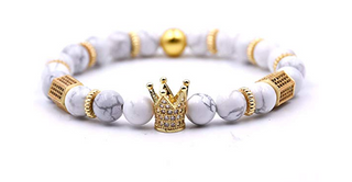 (Full Moon) White Howlite King Crown Bracelet