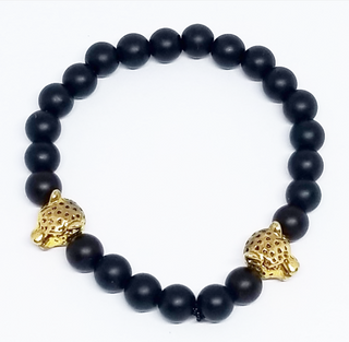(Black Matte)Double Gold Leopard Head Men's Bracelets