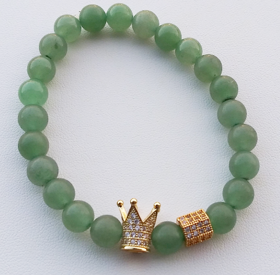 (Jesus Country) Green Jade King Crown Mens  Bracelet