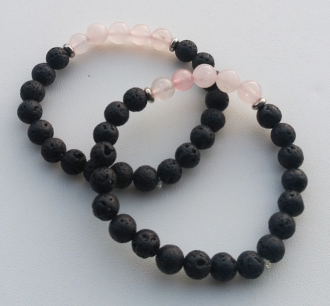 Rose Quartz Lava Rock Beaded Bracelet