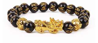 Black Obsidian/Gold Dragon Bracelet