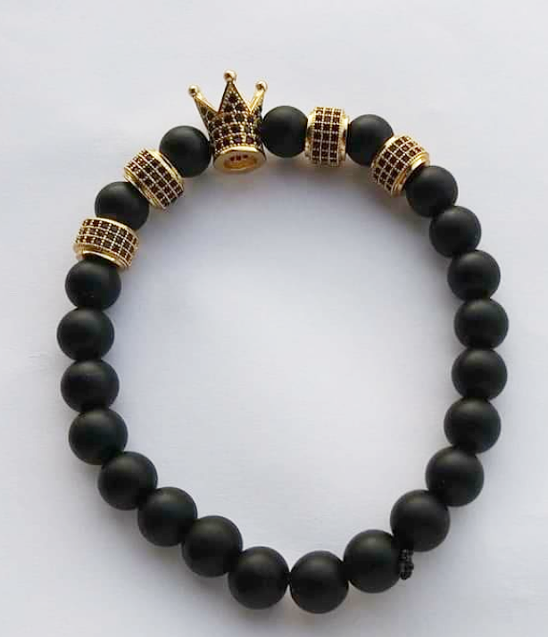 Black (Matte) Agate King Crown Bracelet