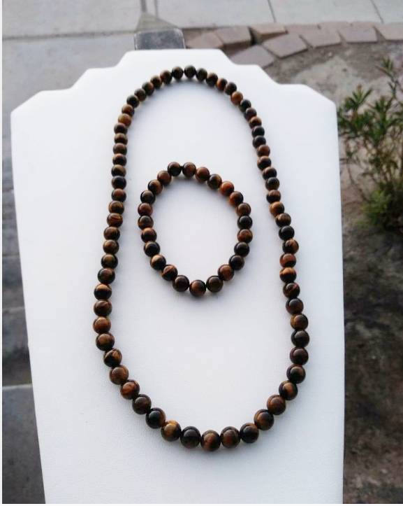 Brown Tigers Eye Necklace Set
