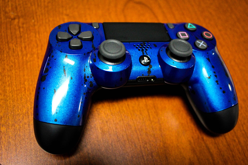 Custom Painted Official Sony PlayStation 4 PS4 Controller - Metallic Blue - Game and Video
