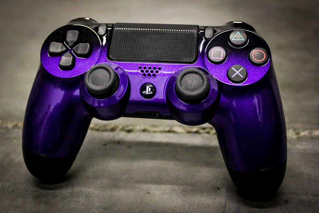 Custom Painted PlayStation 4 Controller - Midnight Purple to Pure Black Fade - Game and Video