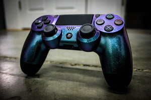 Custom PlayStation 4 Controller - Green & Purple Chameleon - Game and Video