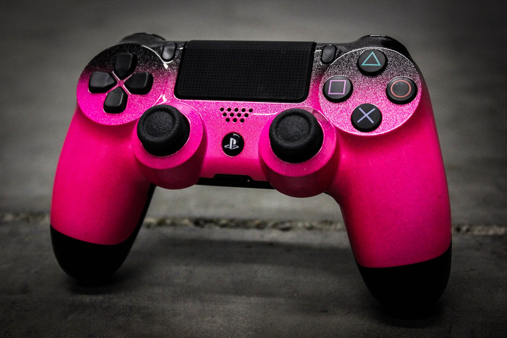 Custom PlayStation 4 Controller - Sparklescent Pink & Metallic Black Fade - Game and Video