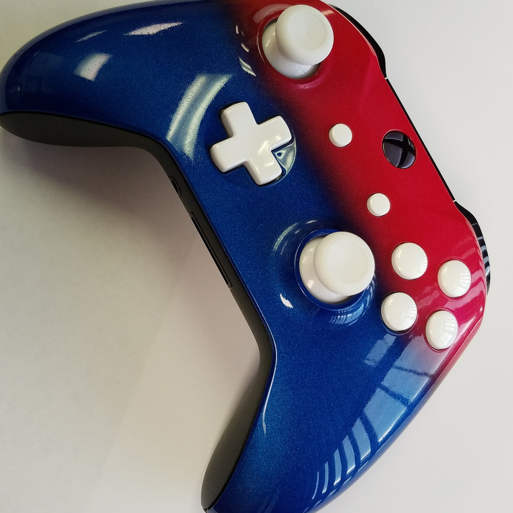 Xbox One S Controller-Red White and Blue - Game and Video
